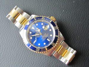 The Rolex Submariner Bi-Metal 16613 Blue Dial Stunning piece.