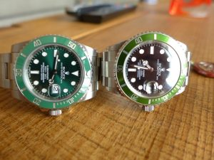 "Hands on Rolex Submariner ""Kermit"" vs Rolex ""Hulk"""
